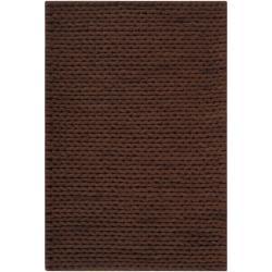 Hand-woven Brown Farron New Zealand Wool Soft Braided Texture Rug (5' x 8')