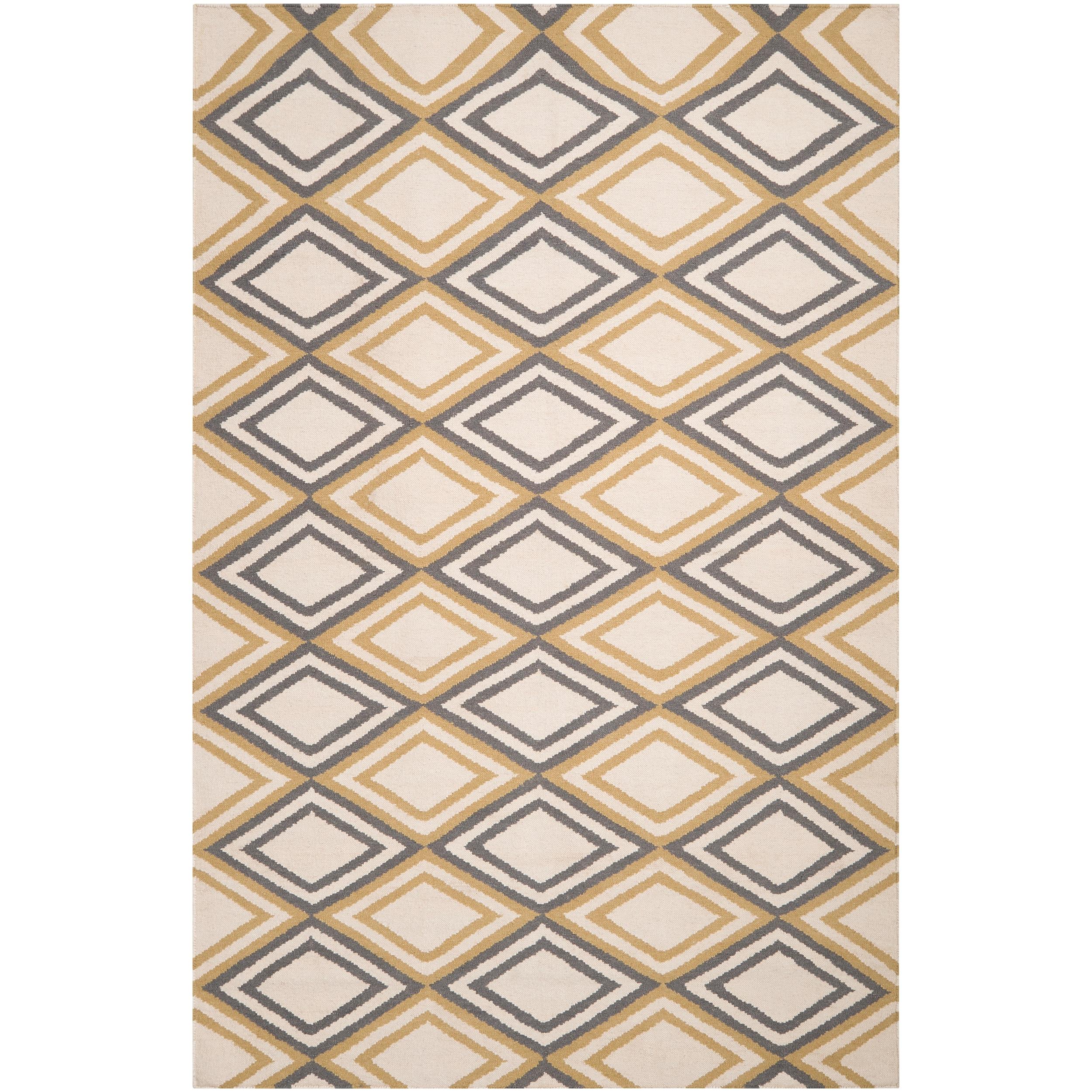 Hand-woven Ivory Foptop Wool Rug (3'6 x 5'6)