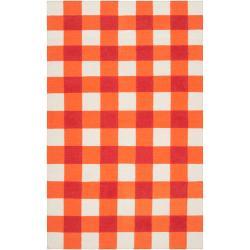 Hand-woven Orange High Kite Wool Rug (8' x 11')