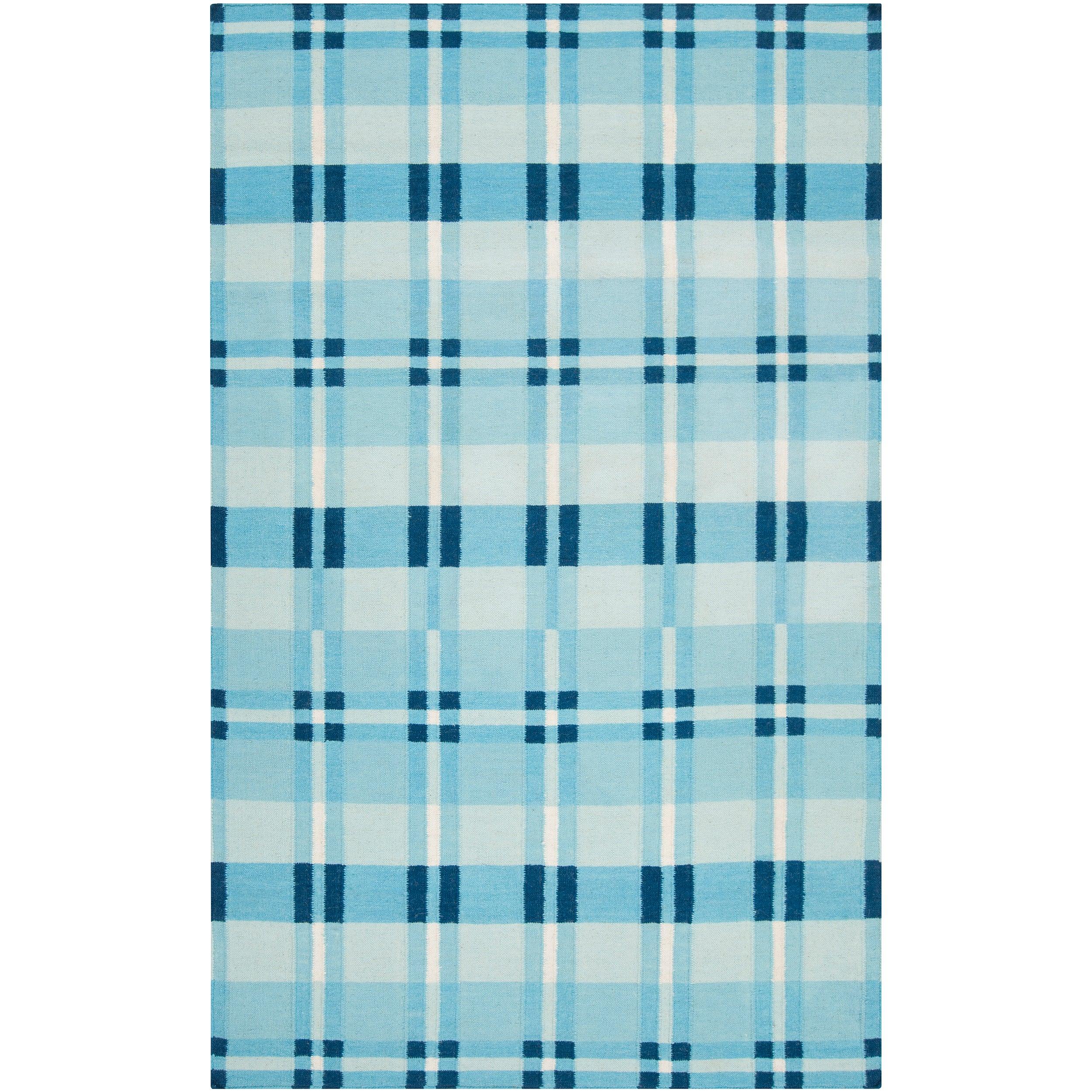 "Handwoven Blue High Kite Wool Area Rug (3'6"" x 5'6"")"