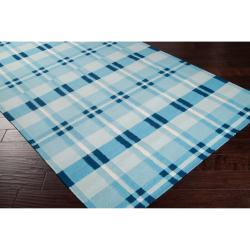 "Handwoven Blue High Kite Wool Area Rug (3'6"" x 5'6"") - Thumbnail 1"