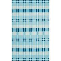 Hand-Woven Blue High Kite 100-Percent Wool Area Rug (5' x 8')