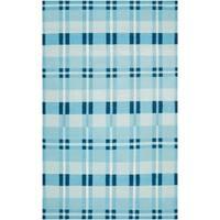 Hand-Woven Blue High Kite 100-Percent Wool Area Rug - 5' x 8'