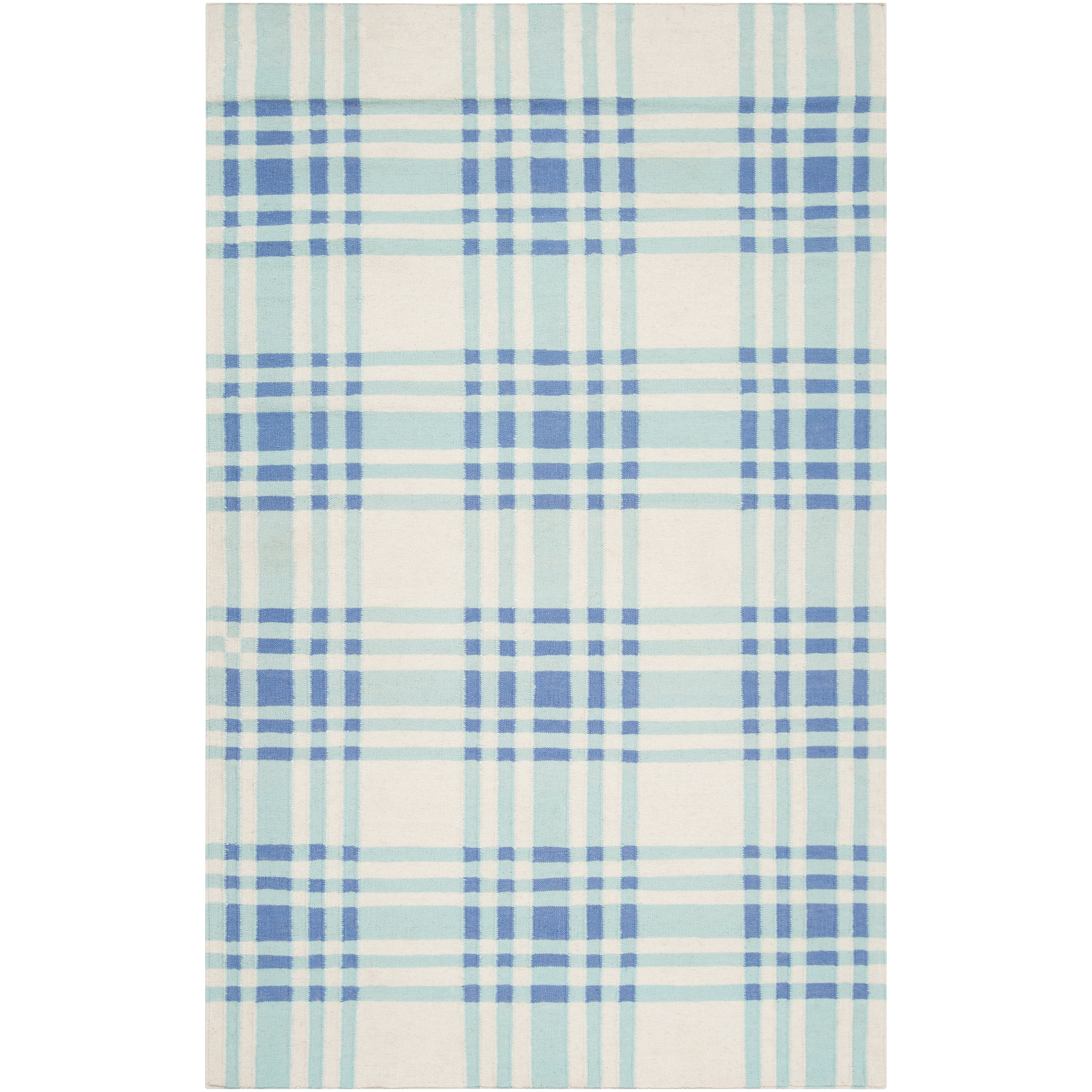 Hand-woven Blue High Kite Wool Rug (8' x 11')