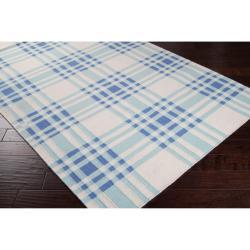 Hand-woven Blue High Kite Wool Rug (8' x 11') - Thumbnail 1