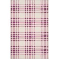 Hand-woven Transitional Purple High Kite Wool Area Rug - 5' x 8' - Thumbnail 0