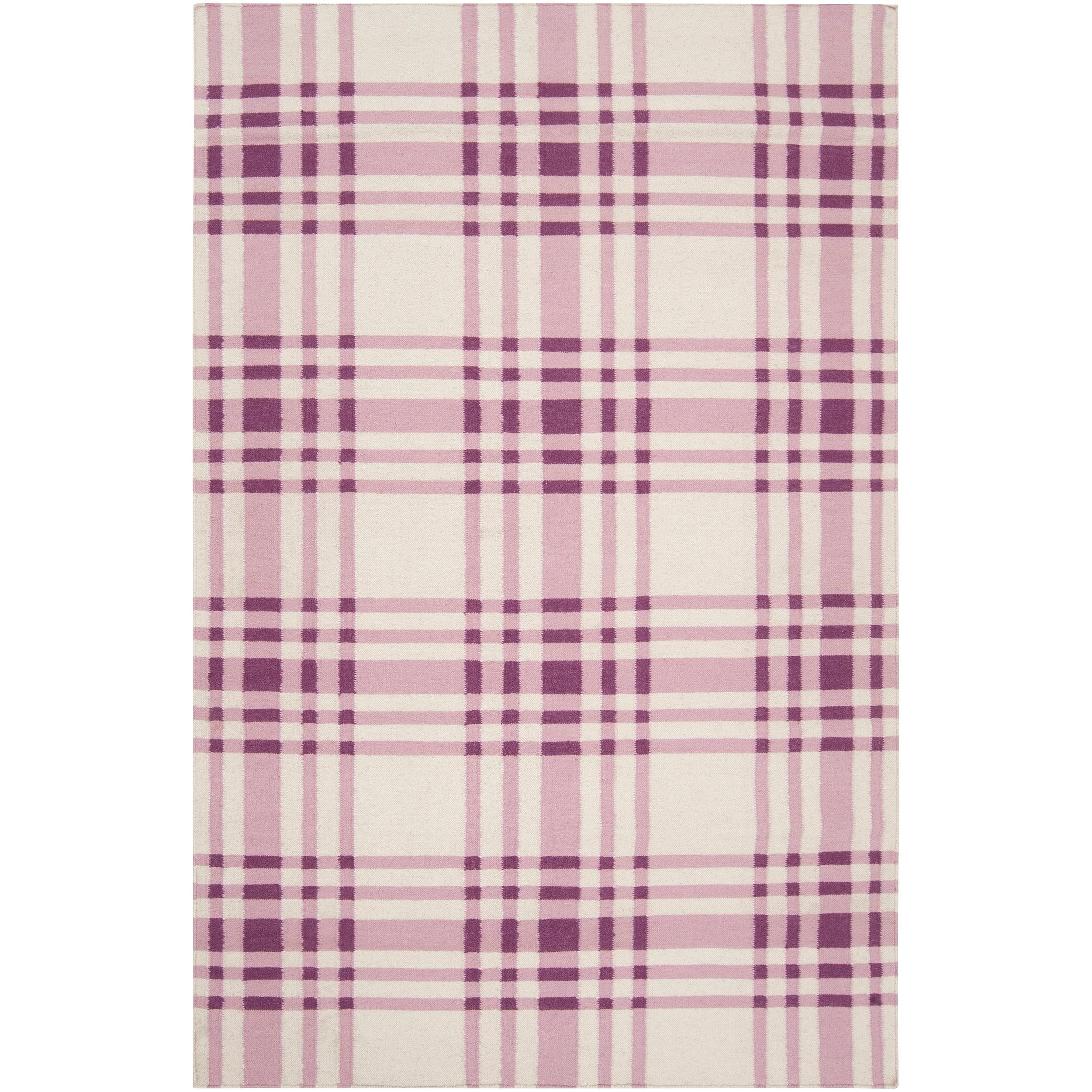 Hand-woven Transitional Purple High Kite Wool Area Rug - 5' x 8'