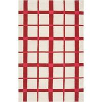 Hand-woven White High Kite Wool Area Rug - 5' x 8'