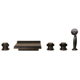 Oil Rubbed Bronze 5-piece Waterfall Bathroom Tub Shower Faucet Set