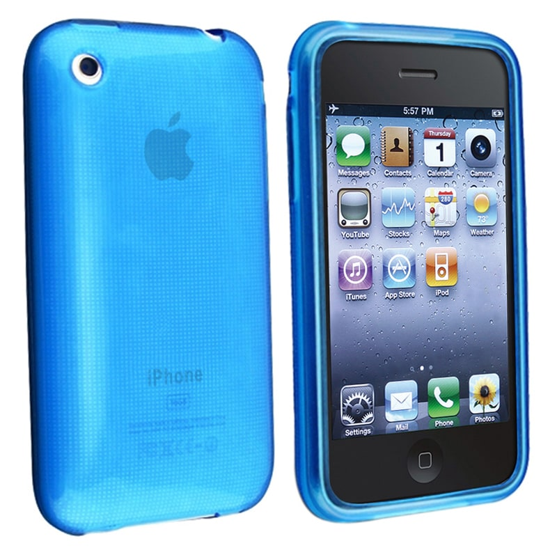 INSTEN Clear Sky Blue TPU Rubber Phone Case Cover for Apple iPhone 3G/ 3GS - Thumbnail 0