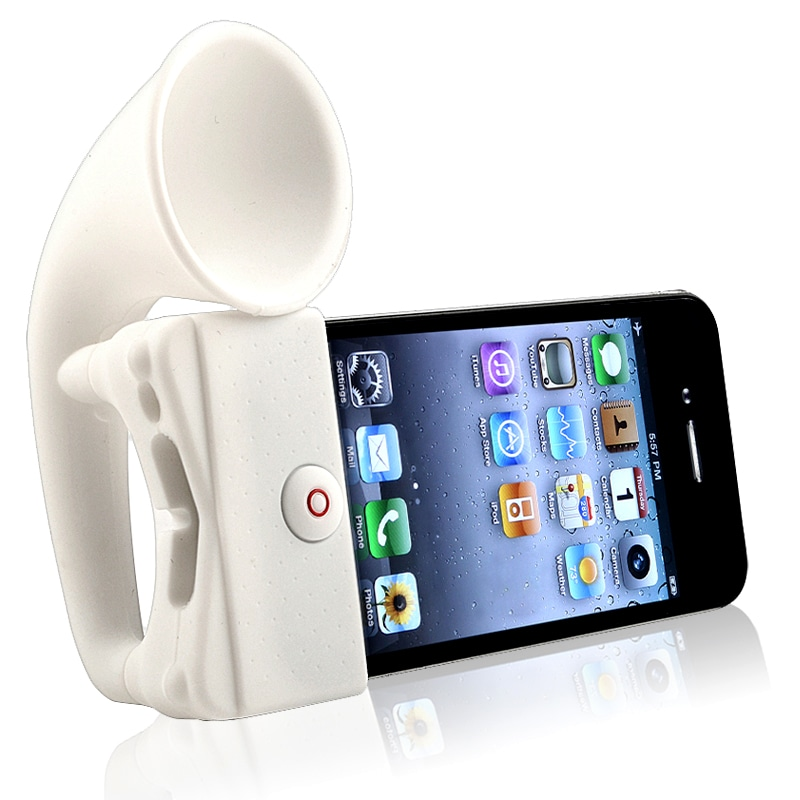 INSTEN White Soft Silicone Horn Stand Speaker for Apple iPhone 4/ 4S
