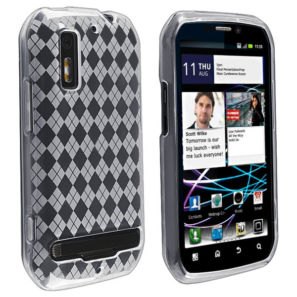 Clear Argyle TPU Rubber Skin Case for Motorola MB855 Photon 4G