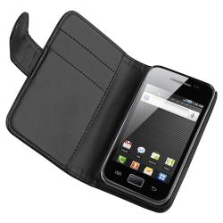 INSTEN Black Leather Wallet Phone Case Cover/ Card Holder for Samsung Galaxy Ace S5830 - Thumbnail 1