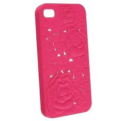 Hot Pink 3D Rose Sculpture Snap-on Case for Apple iPhone 4/ 4S