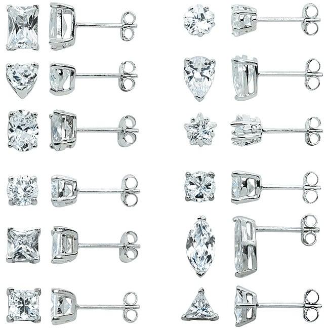 Eternally Haute Sterling Silver Multi-shaped CZ 12-pair Stud Earring Set