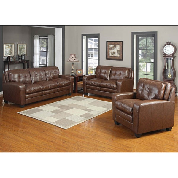 Edward Bonded Leather Sofa and Loveseat Set