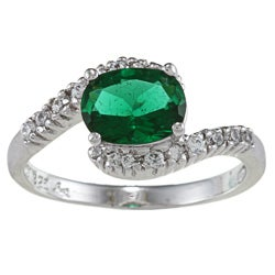Sterling Essentials Silver Oval-cut Green and White Cubic Zirconia Fashion Ring