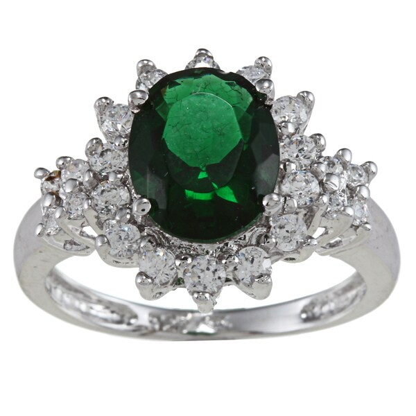 Sterling Essentials Silver Oval-cut Green and White Cubic Zirconia Ring