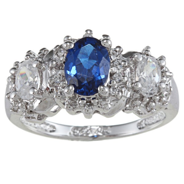 Sterling Essentials Silver Oval-cut Blue and White Cubic Zirconia Ring