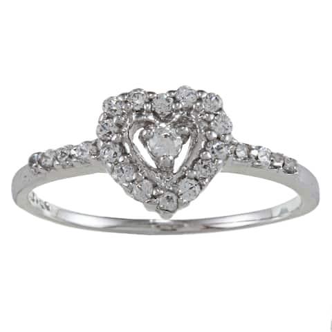 Roberto Martinez Sterling Silver White Cubic Zirconia Heart Ring