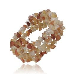 Glitzy Rocks Sterling Silver Carnelian Chip Bangle Bracelet