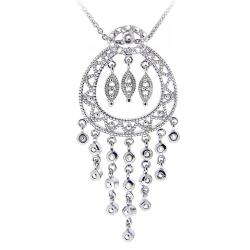 DB Designs Silvertone Diamond Accent Station Medallion Necklace