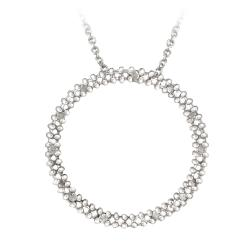 DB Designs Sterling Silver 1/8ct TDW White Diamond Circle Necklace (J, I3)