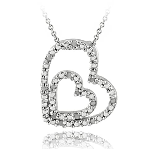 DB Designs Sterling Silver 1/8ct TDW White Diamond Double Heart Necklace