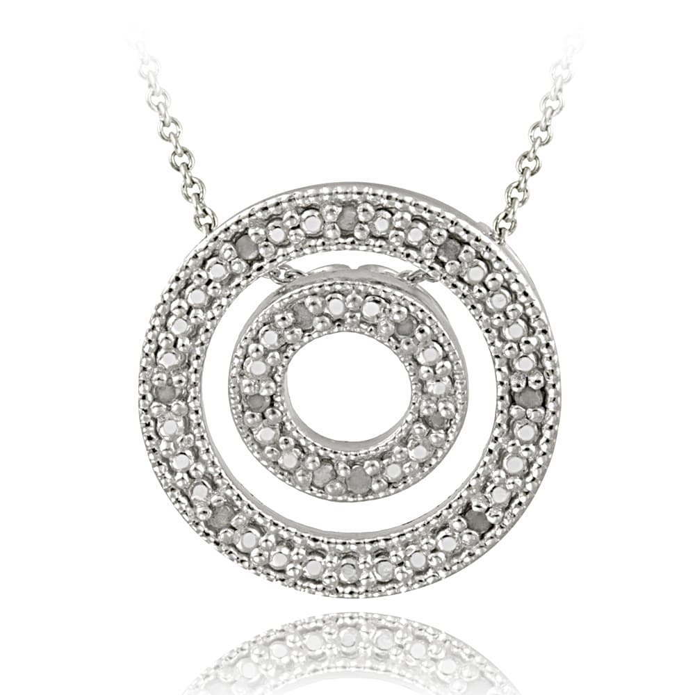 DB Designs Sterling Silver 1/8ct TDW White Diamond Double Circle Necklace (J, I3)