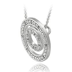 DB Designs Sterling Silver 1/8ct TDW White Diamond Double Circle Necklace (J, I3) - Thumbnail 1