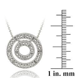 DB Designs Sterling Silver 1/8ct TDW White Diamond Double Circle Necklace (J, I3) - Thumbnail 2