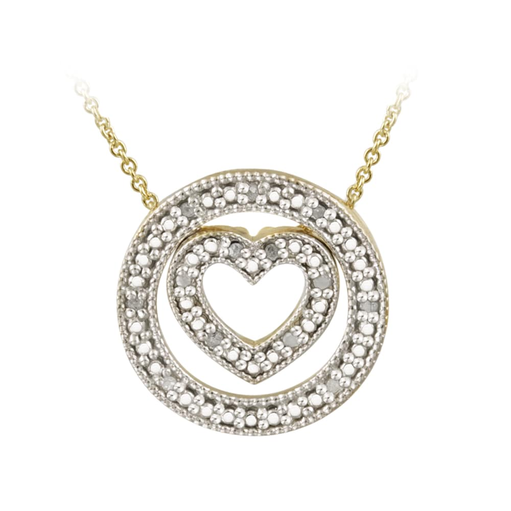 DB Designs 18k Gold over Silver 1/8ct TDW Diamond Heart and Circle Necklace