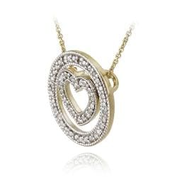 DB Designs 18k Gold over Silver 1/8ct TDW Diamond Heart and Circle Necklace - Thumbnail 1