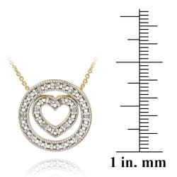 DB Designs 18k Gold over Silver 1/8ct TDW Diamond Heart and Circle Necklace - Thumbnail 2
