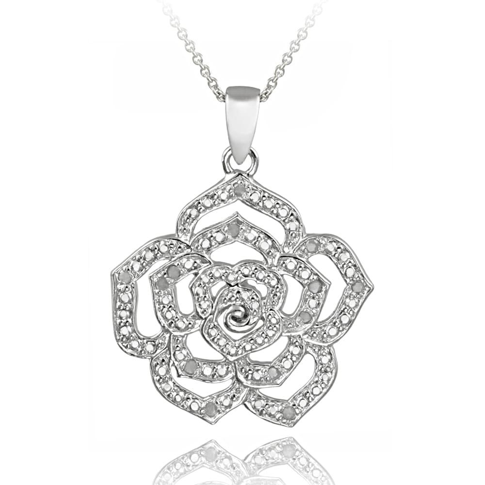 DB Designs Sterling Silver 1/8ct TDW White Diamond Flower Necklace (J, I3)