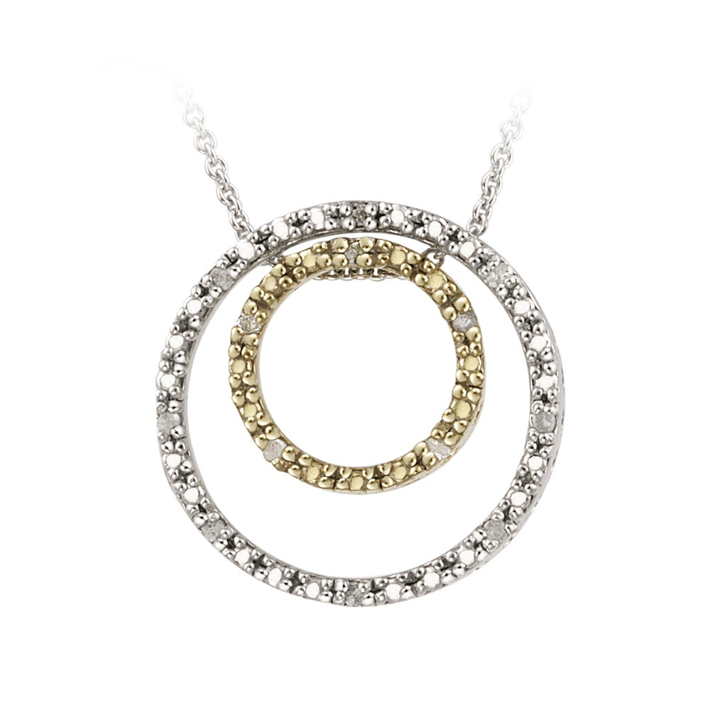 DB Designs Gold over Silver 1/8ct TDW Diamond Double Circle ...