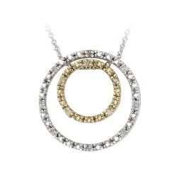 DB Designs Gold over Silver 1/8ct TDW Diamond Double Circle Necklace