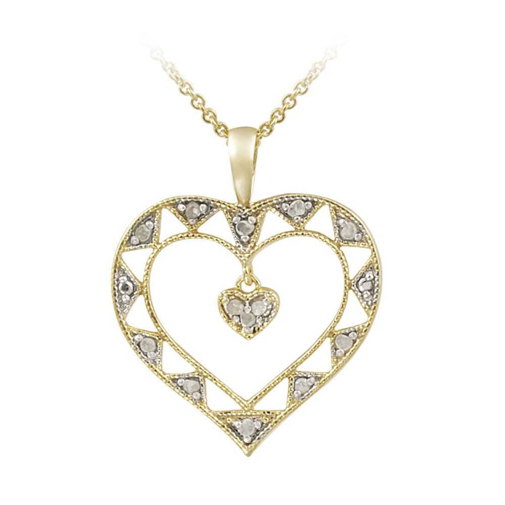 DB Designs 18k Gold over Silver 1/8ct TDW Diamond Open Heart Necklace