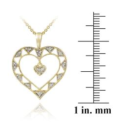 DB Designs 18k Gold over Silver 1/8ct TDW Diamond Open Heart Necklace - Thumbnail 2