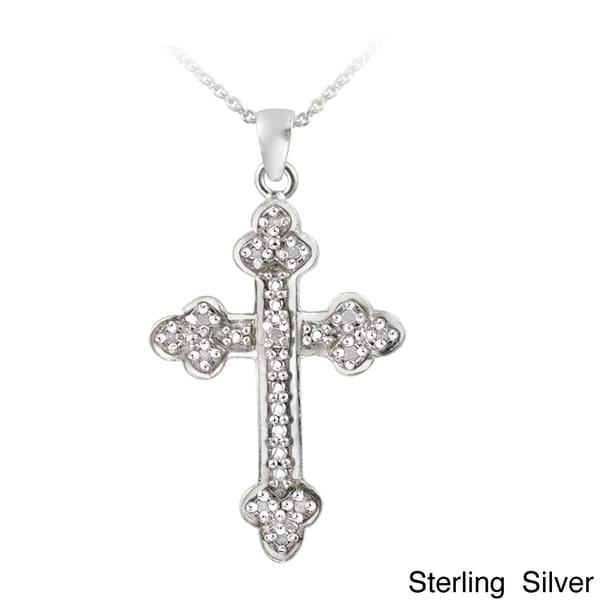 DB Designs Sterling Silver 1/8ct TDW Diamond Vintage Cross Necklace (J, I3)