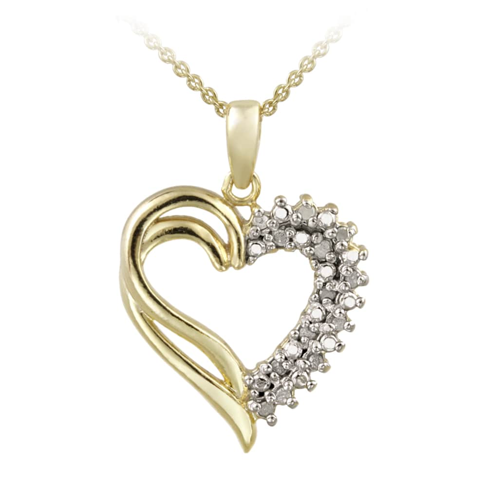 DB Designs 18k Yellow Gold over Silver 1/8ct TDW Diamond Heart Necklace