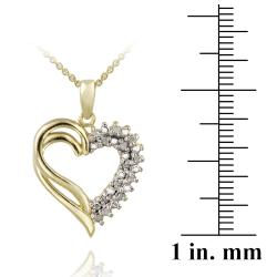 DB Designs 18k Yellow Gold over Silver 1/8ct TDW Diamond Heart Necklace - Thumbnail 2