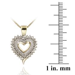 DB Designs 18k Yellow Gold over Silver 1/5ct TDW Diamond Heart Necklace (J, I3) - Thumbnail 2
