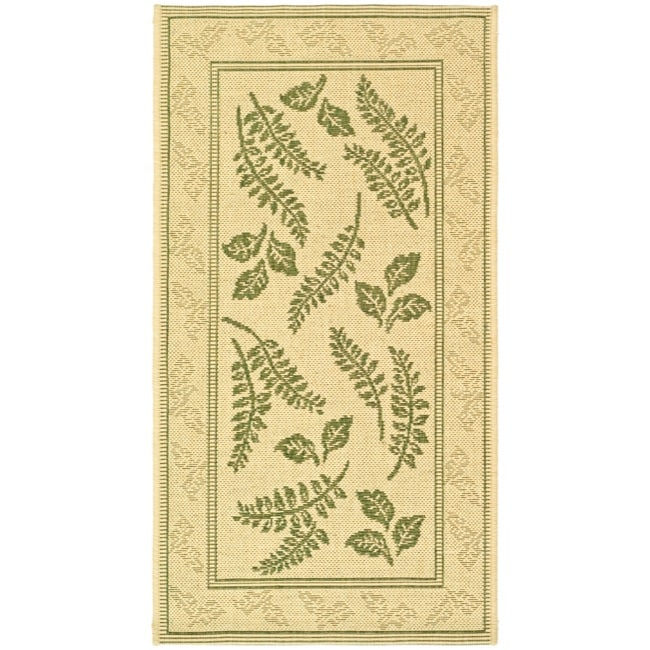 "Safavieh Ferns Natural/ Olive Green Indoor/ Outdoor Rug (2' x 3'7"")"
