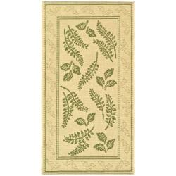 "Safavieh Ferns Natural/ Olive Green Indoor/ Outdoor Rug (2' x 3'7"") - 2' x 3'7"
