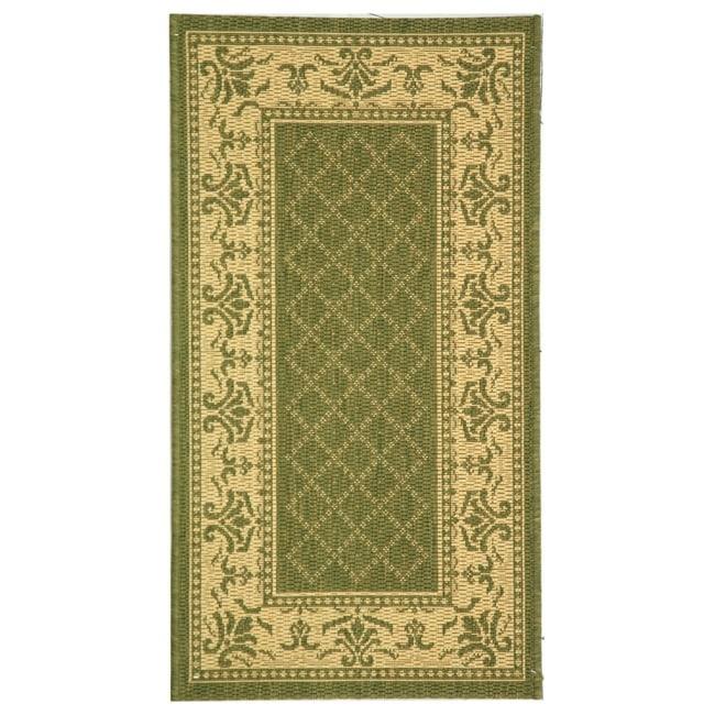 Safavieh Royal Olive Green/ Natural Indoor/ Outdoor Rug (2' x 3'7)