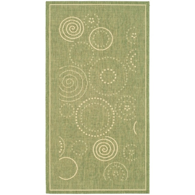 Safavieh Ocean Swirls Olive Green/ Natural Indoor/ Outdoor Rug - 2' x 3'7