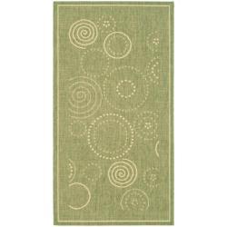 Safavieh Ocean Swirls Olive Green/ Natural Indoor/ Outdoor Rug - 2' x 3'7