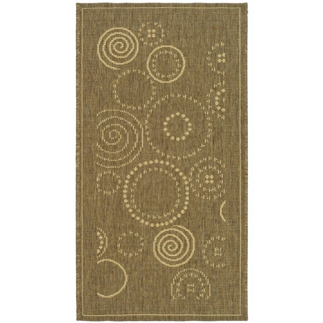 "Safavieh Ocean Swirls Brown/ Natural Indoor/ Outdoor Rug (2' x 3'7"")"