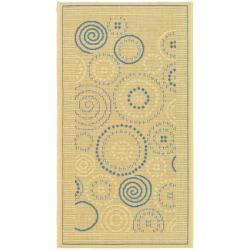 """Safavieh Ocean Swirls Natural/ Blue Indoor/ Outdoor Rug (2' x 3'7"""")"""